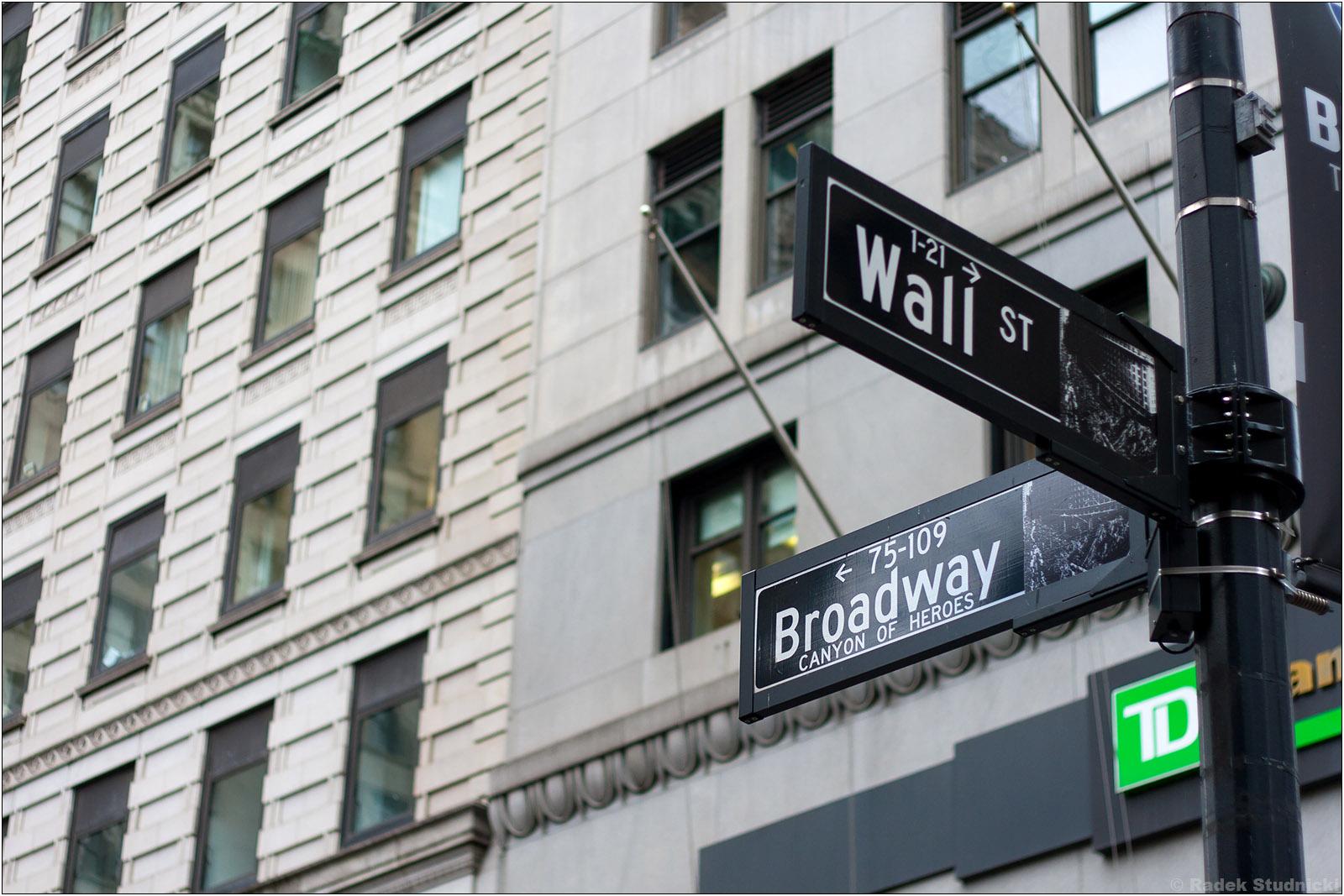Skrzyżowanie Wall Street i Broadwayu