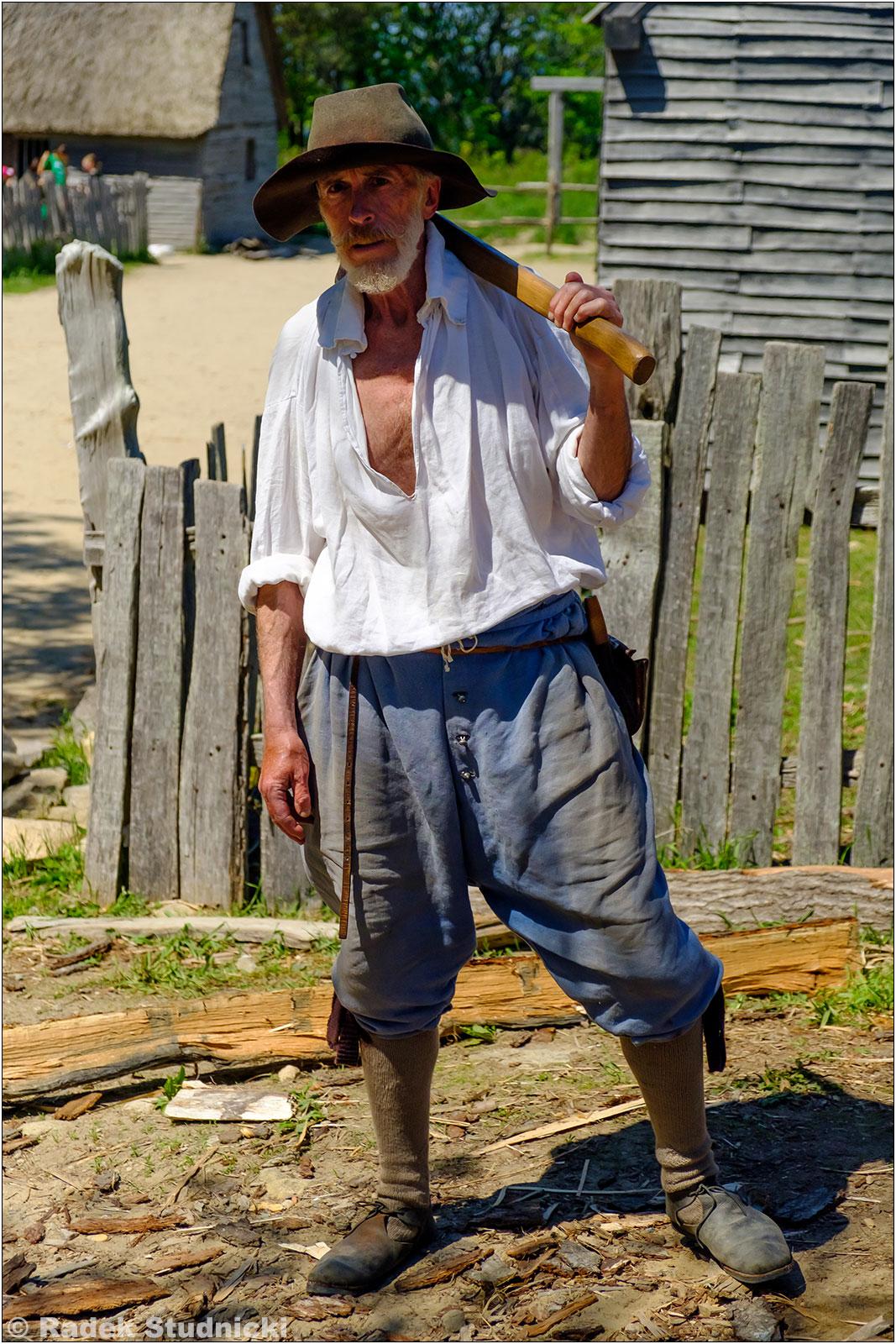Jeden z pielgrzymów w Plimoth Plantation