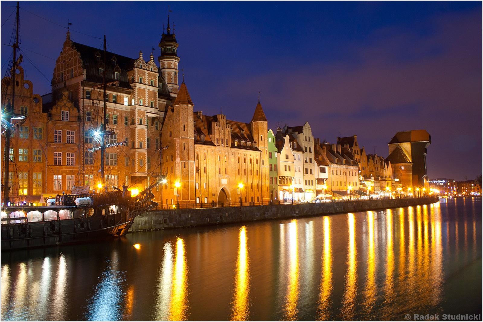 Gdańsk nad Motłatwą nocą