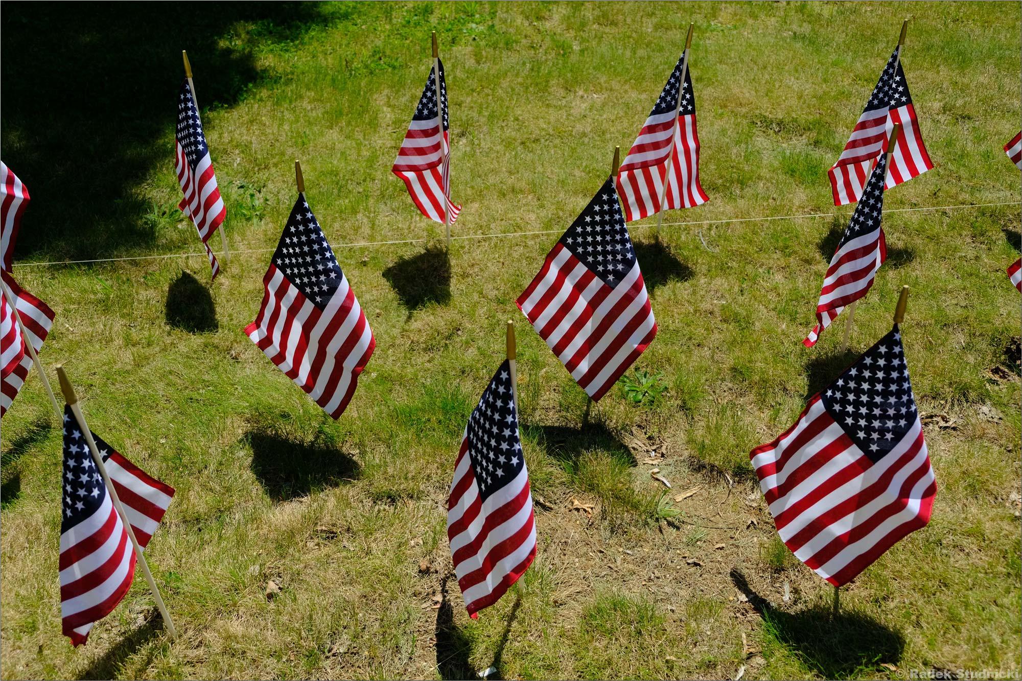 Amerykańskie flagi w Memorial Day